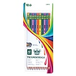 Dixon-Ticonderoga® Striped Wood Pencils, 7.1 mm, #2 Soft Lead, Assorted Colors, Pack Of 10
