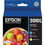 Epson 200XL High Yield Black and Color C/M/Y Ink Cartridges (T200XL-XCS), Multi-pack (4 cart per pac