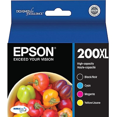 Epson 200XL High Yield Black and Color C/M/Y Ink Cartridges (T200XL-XCS), Multi-pack (4 cart per pack)