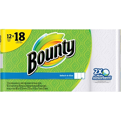 Bounty® Select-A-Size™ Paper Towels, White, 12 Giant Rolls = 18 Regular Rolls (88212/81440)