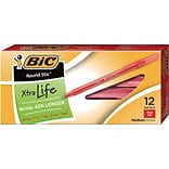 BIC Round Stic Xtra Life Ballpoint Pens, Medium Point (1.0mm), Red, Dozen (GSM11RD)