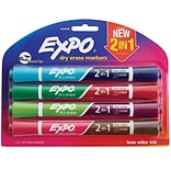 Expo Dry Erase 2-in-1 Asst Markers, 4/pk