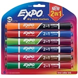 Expo Dry Erase 2-in-1 Asst Markers, 6/pk