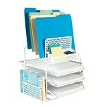 Quill Brand® All-in-One White Zigzag Desk Organizer