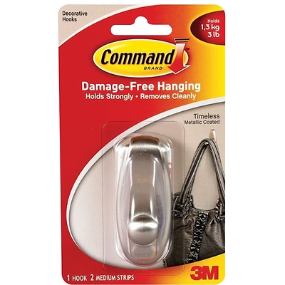 Command™ Medium Timeless Hook, Brushed Nickel, 1/Pack