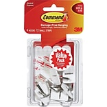 Command™ Small Wire Hooks Value Pack, White, 9/Pack