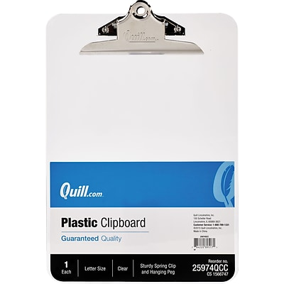Quill Brand® Plastic Clipboard; Clear, 9 x 12