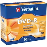Verbatim 95099 4.7 GB DVD-R Slim Jewel Case; 10/Pack