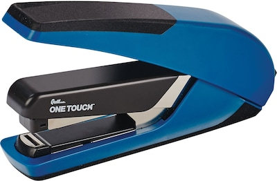 Quill Brand® One-Touch™ Plus, Flat Stack, Full Strip, Desktop Stapler, 30 Sheet Capacity, Blue (26459-QCC)