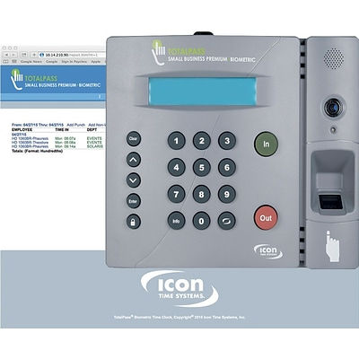 Icon TotalPass Premium Biometric Time Clock for Small Business