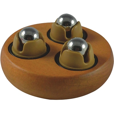 Wood Hand-Held Body Massager; Circular with Revolving Multi-Steel Balls