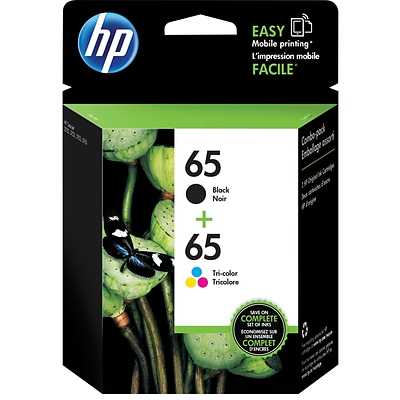 HP 65 Black/65 Color Ink Cartridges (T0A36AN#140) (2 cart per pack)
