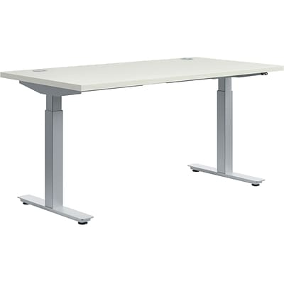 basyx by HON® Height Adjustable Table, 60W x 30D Silver Mesh Worksurface