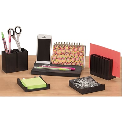 SAFCO® Wood Desk Organizer Set, Black