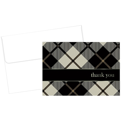Great Papers! Black Plaid Thank You Note Card, 4.875 x 3.375, 24 count, (2015071)