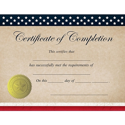 Great Papers! Patriotic Completion Certificate, 8.5 x 11, 25 count (2015075)