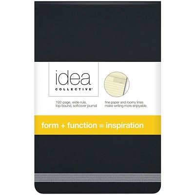 TOPS® Idea Collective® Softcover Journal, 3-1/2 x 5-1/2, Black Cover, Wide Rule, 192 Pages