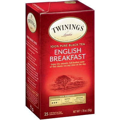 Twinings English Breakfast Tea Bags, 25/Box