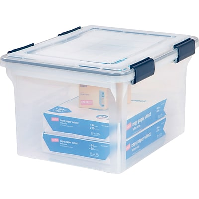 Iris® Ultimate Plastic File Box, Clear, 32 Quart