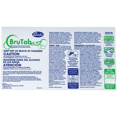 BruTab 4311ppm Transfer Label for 6S Disinfectant Concentrate Tablets, 20/Pack