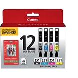 Canon CLI-251 Black & C/M/Y Color Ink Cartridges (6513B010), Photo Value (12 cart per pack)