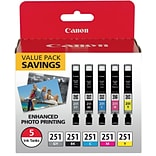 Canon CLI-251 Black & C/M/Y/GY Color Ink Cartridges (6513B011) (5 cart per pack)