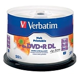 Verbatim DVD+R DL 8.5GB 8X White Inkjet Hub Printable 50pk Spindle