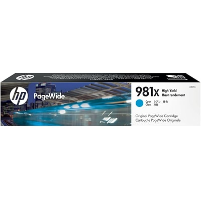 HP 981X Cyan PageWide Ink Cartridge (L0R09A), High Yield