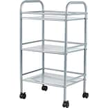 Staples® 3-Shelf Rolling Cart, Silver
