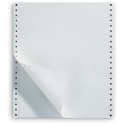 White Continuous Form Paper, 1-Part, 18 lb., 9-1/2x11, 2,500/Box, Recycled