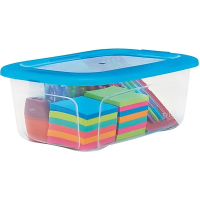 Snap Lid Shoe Box; 6qt., Clear with Blue Tint Lid