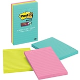 Post-it® Super Sticky Notes, 4 x 6, Miami Collection, Lined, 3 Pads/Pack (660-3SSMIA)