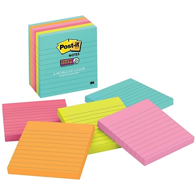 Post-it® Super Sticky Notes, 4 x 4, Miami Collection, Lined, 6 Pads/Pack (675-6SSMIA)