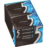 5 Gum Peppermint Cobalt Sugar-Free Gum, 10 Packs/BX