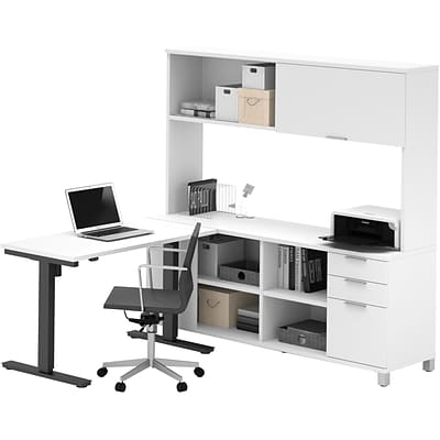 Bestar® Pro-Linea L-Desk, Hutch, & Height-Adjustable Table in White