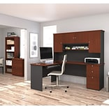 Bestar® Manhattan L-Station, Lateral File, & Bookcase in Secret Maple & Chocolate