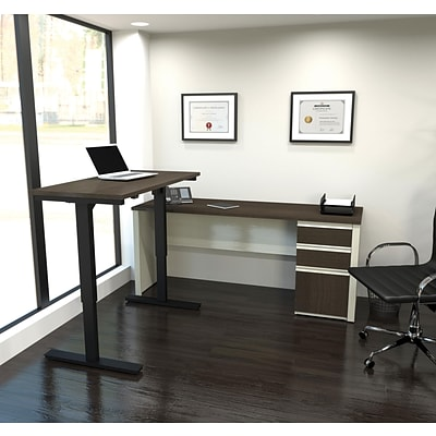 Bestar® Prestige+ L-Desk w/ Height-Adjustable Table in White Chocolate & Antigua