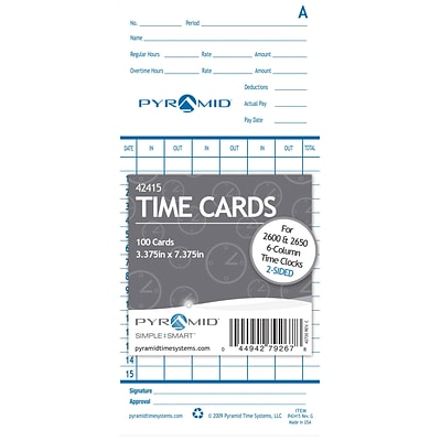 Pyramid® Time Cards, For Model 2600