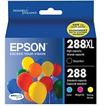 Epson® T288XL/T288 High Yield Black and Standard Color CMY DuraBrite Ultra Ink Cartridges, (T288120-