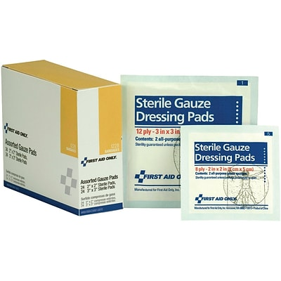 First Aid Only  2 x 2/3 x 3 Sterile 8-12 ply, Gauze Dressing Pads, 48/Box (I228)