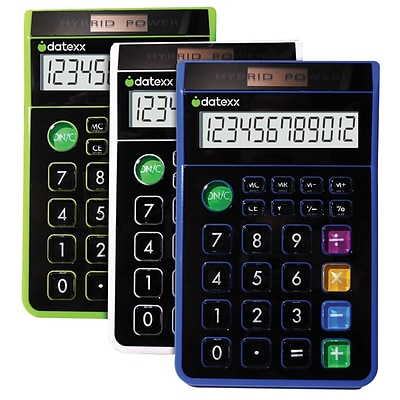 Datexx® Hybrid 8 Digit Desk Calculator; 3/Pk, Blue/Green/White