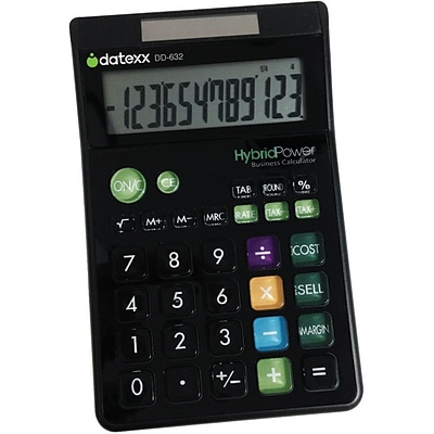 Datexx® 12 Digit Designer Large Desktop Calculator; Black
