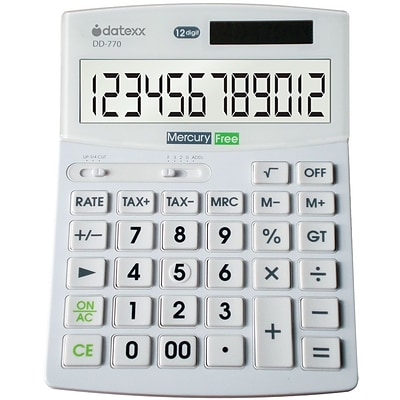 Datexx DD-770 12-Digit Desktop Calculator, White