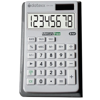 Datexx® Hybrid Powered Wallet Size Calculator; White