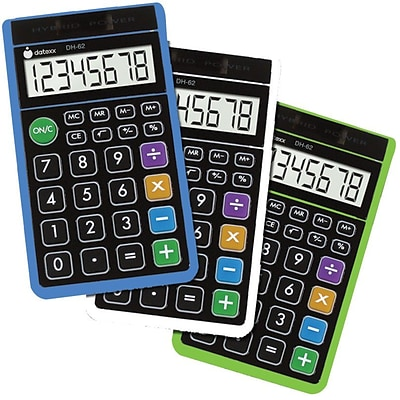 Datexx DH-62X3 Pocket Calculator, Green/White/Blue