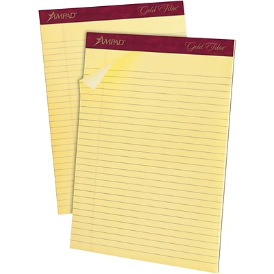 Ampad® Gold Fibre® Writing Pad 8-1/2x11-3/4, Wide/Legal Ruling, Canary, 50 Sheets/Pad