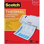 Scotch™ Thermal Laminating Pouches, Letter Size, 3 mil, 100 Pouches/Pack (TP3854-100)
