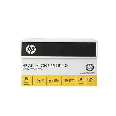 HP® All-in-One Printing Paper, 8-1/2 x 11, Carton