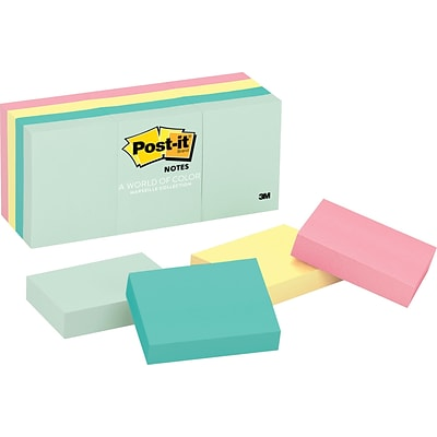 Post-it® Notes, 1 1/2 x 2, Marseille Collection, 12 Pads/Pack (653AST)