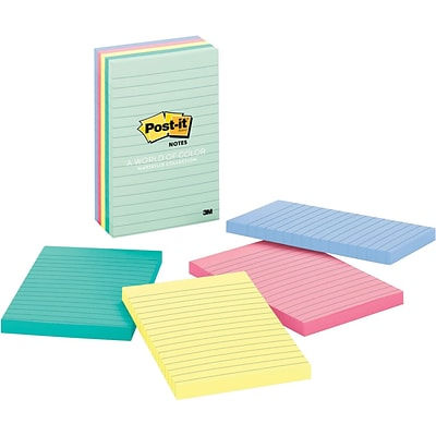 Post-it®, Notes, 4 x 6, Marseille Collection, Lined, 5 Pads/Pack (660-5PK-AST)